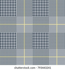 Glen plaid check in navy blue and golden yellow. Seamless fabric texture.