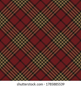 Glen plaid pattern in black, gold, red. Seamless diagonal dark tartan check plaid for dress, skirt, blanket, scarf, or other modern autumn and winter tweed textile design.