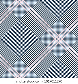 Glen plaid pattern in navy blue and pink. Prince of Wales check. Seamless fabric texture print.