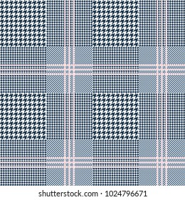 Glen plaid pattern in navy blue and white with triple pink overcheck. Prince of Wales checkered print. Seamless fabric texture.