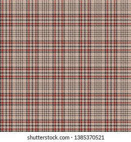 Glen plaid pattern. Seamless hounds tooth check plaid in beige, grey, and red for tweed textile design.