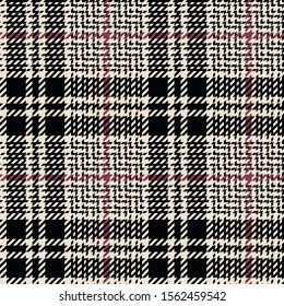 Glen plaid pattern. Seamless hounds tooth tartan check plaid tweed texture in black, soft red, and off white for coat, skirt, jacket, or other modern autumn and winter fashion clothes print.