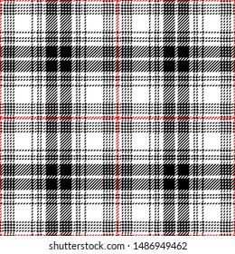 Glen plaid pattern seamless vector graphic. Tweed plaid in black, red, and white for jacket, coat, skirt, trousers, dress, or other modern clothing design.