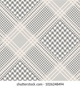 Glen plaid pattern in taupe and white with beige overcheck. Classic Prince of Wales checkered texture. Seamless fabric print.