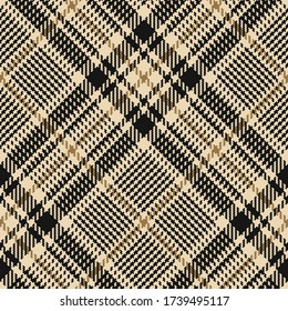 Glen plaid pattern vector background in gold and black. Seamless diagonal hounds tooth tweed check plaid for jacket, dress, coat, skirt, or other fashion autumn textile print.