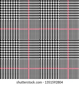 Glen Plaid with Red Stripe Details--Seamless Pattern Vector Illustration
