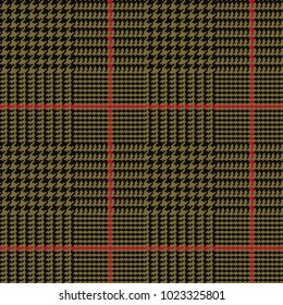 Glen Plaid Vector Pattern in Army Green and Black with Red Overcheck. Classic Houndstooth Seamless Textile Print. Traditional Scottish Fabric. Pixel Pattern Tile Swatch Included