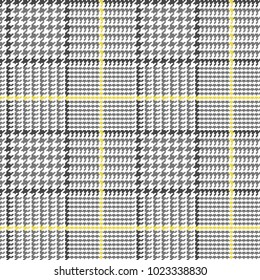 Glen Plaid Vector Pattern in Grey, Black and White with Yellow Overcheck. Classic Houndstooth Seamless Textile Print. Traditional Scottish Fabric. Pixel Pattern Tile Swatch.