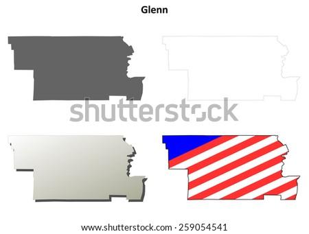 Glenn County California Map.Glenn County California Outline Map Set Stock Vector Royalty Free