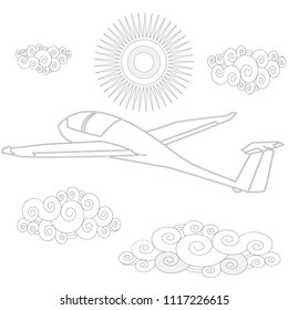 Glider. Coloring image of glider in the sky. Vector illustration.
