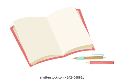 Glider or diary, notebook with blank pages for your design and text. Write a pen in the book wish. Isolated objects on white background. Vector cartoon flat illustration