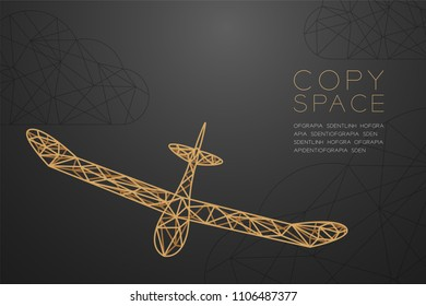 Glider plane gold color and cloud wireframe Low polygon frame structure, business travel concept design illustration isolated on black gradient background with copy space, vector eps 10