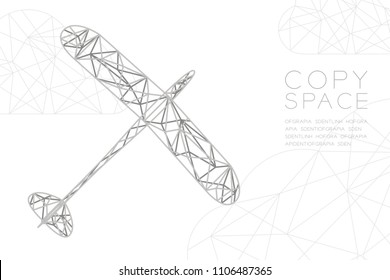Glider plane silver color and cloud wireframe Low polygon frame structure, business travel concept design illustration isolated on black gradient background with copy space, vector eps 10