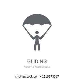 Gliding parachutist icon. Trendy Gliding parachutist logo concept on white background from Activity and Hobbies collection. Suitable for use on web apps, mobile apps and print media.