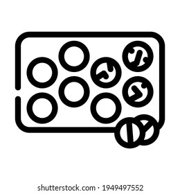 glister with pills line icon vector. glister with pills sign. isolated contour symbol black illustration
