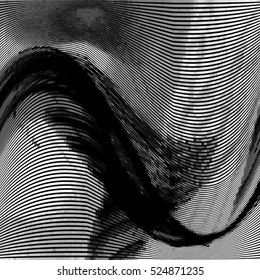 Glitch abstract background with distortion effect, bug, error, random wave black and white, monochrome lines for design concepts, posters, wallpapers, presentations and prints. Vector illustration.