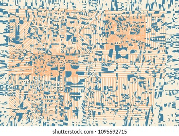 Glitch Abstract Background With Drawing Textures. vector illustration
