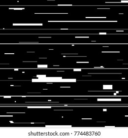 Glitch abstract background. Glitched backdrop with distortion, seamless pattern with random horizontal black and white lines for banner, poster and web design. Vector illustration.