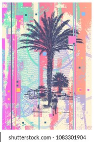 Glitch Abstract Background Resort Landscape With Palm Tree And Girl Walking To The Beach. Vector Illustration.