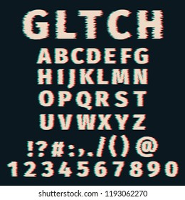 Glitch alphabet distorted font letters and numbers. Vector set with broken pixel effect,old distorted TV matrix effect. Video game alphabet in retro style