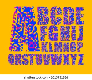 Glitch Alphabet Letters. Font With Distortion Effect. Vector illustration.