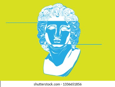 Glitch art Acid Alexander of Macedon Alexandria the Great Ancient Greek Argead dynasty Babylon Hegemon, Persia, Pharaoh Egypt, Lord Asia sculpture helios god roma vector statue Antique sculpture