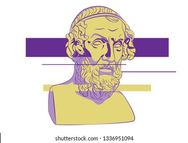Glitch art Acid LSD Trip Head of Homer Greece Athens Ancient philosophy legendary author statue sculpture Antique Iliad and the Odyssey literature vector