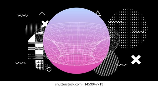 Glitch art composition of geometric elements and 3d shapes, torus or toroid.  Vaporwave/ synthwave/ cyberpunk vector illustration.