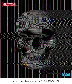 Glitch art. Glitched abstract oscillator RGB line skull from 3D rendering. Color vector illustration on black background.