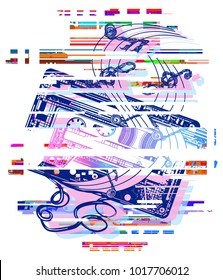 Glitch audio cassette and music notes tattoo and t-shirt design. Symbol of retro music, nostalgia, 80th and 90th