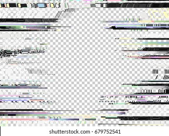 Glitch background. Computer screen error. Glitch frame. Digital pixel noise abstract design. Video game glitch. Television signal fail. Video distortion. Data decay. Technical problem grunge.