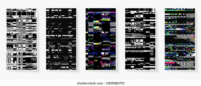 Glitch backgrounds set. Mobile device screen error. Digital pixel noise abstract design. Device signal fail. Gadget data decay. Glitch tv wallpaper. Monitor technical problem.