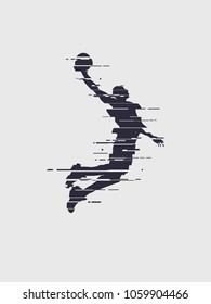 Glitch basketball player silhouette trend glitch vector player jump for the slam dunk
