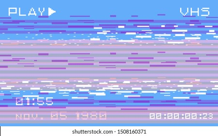 Glitch camera effect. Retro VHS background like in old video tape rewind or no signal TV screen. Vaporwave/ cyberpunk style vector illustration.