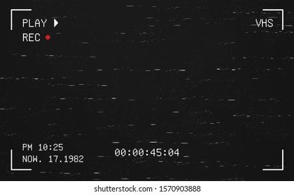 Glitch concept on a camera viewfinder with broken lines on a black screen surrounded by camera settings, Vector illustration