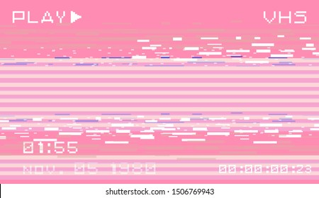 Glitch datamoshing camera effect. Retro VHS pink background like in old video tape rewind or no signal TV screen. Vaporwave/ retrowave style vector illustration.
