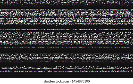 Glitch digital color pixel noise. VHS corrupted signal. Background of the damaged error television image. Vector illustration.