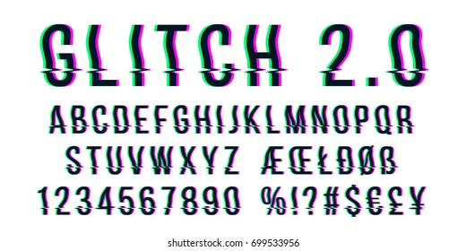 Glitch distorted font letter set with broken pixel wave clutter effect. Vector retro video game alphabet. Old distorted TV matrix effect