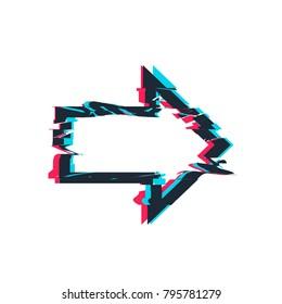 Glitch distortion frame. Vector arrow illustration