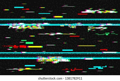 Glitch distortion template. VHS background with glitched color lines. Abstract pixel noise with rewind effect. HDTV no signal. TV problems. Vector illustration.