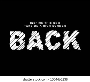 glitch effect and back slogan, textile printing drawing, t-shirt graphic design - Vector