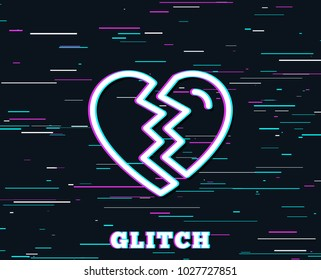 Glitch effect. Break up Love line icon. Divorce sign. Valentines day symbol. Background with colored lines. Vector