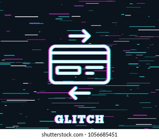 Glitch effect. Credit card line icon. Bank payment method sign. Online Shopping symbol. Background with colored lines. Vector