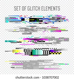 Glitch Effect Elements Set. TV Distortion, Digital Noise Abstract Design, Decay Signal, Screen Pixel illustration, Monitor Problems. Vector
