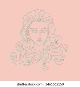 Glitch effect medusa gorgon vector line art isolated on beige background. fashion print, t shirt design, greeting card, sticker, poster