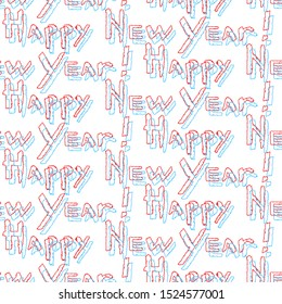 Glitch effect. Seamless pattern of Happy New Year calligraphy. Blue and red phrase in trendy style. Vector illustration of winter symbols on a white background.