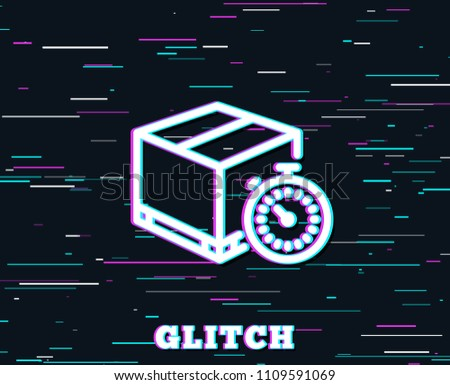 Glitch Effect Shipping Tracking Line Icon Stock Vector