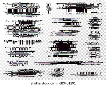 Glitch elements set. Computer screen error templates. Digital pixel noise abstract design. Video game glitch. Glitches collection. Television signal fail. Data decay. Technical problem grunge.