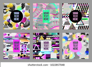 Glitch Futuristic Posters, Covers Set. Hipster Design Compositions for Brochures, Flyers, Placards, Banners. Trendy Templates. Vector illustration