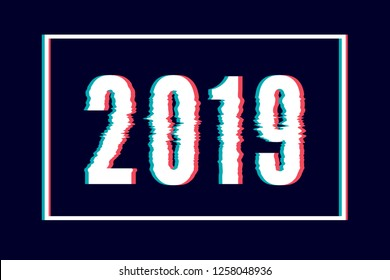 Glitch Happy New Year abstract lettering, typography with distortion effect, bug, error, random horizontal monochrome lines for design concepts, wallpapers, presentations, prints